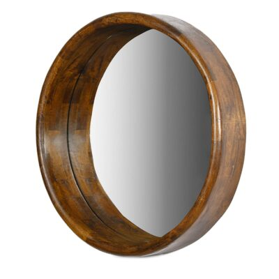 Luca Wooden Round Mirror Weathered 30 Inches