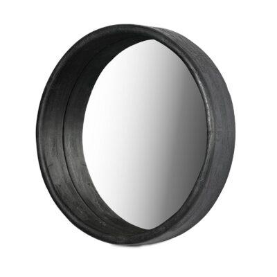 Luca Wooden Round Mirror Black 30 Inches